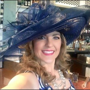 Worn Once! Lovely Navy Derby / Dress Hat with Bow